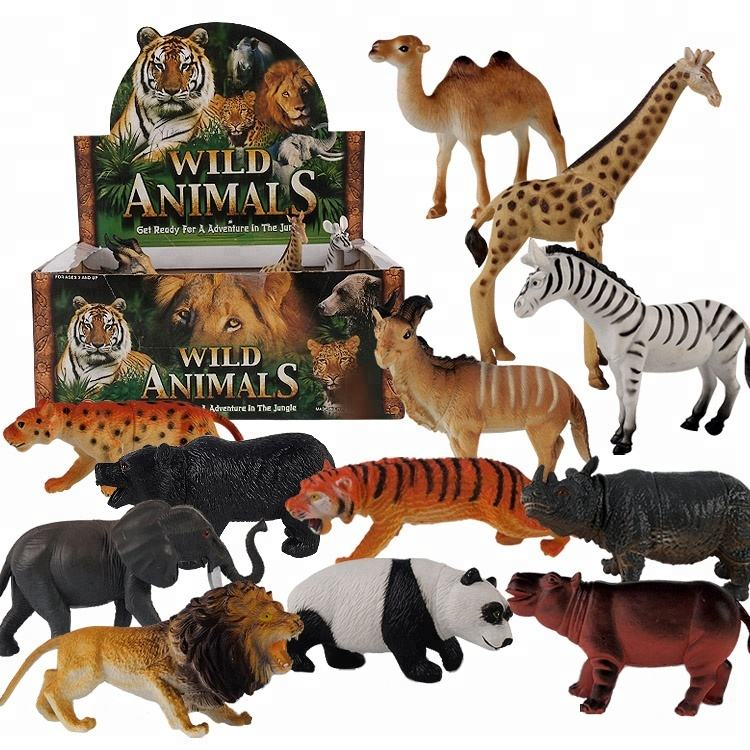 12 pcs 6 inch plastic wild animal toys set for kids