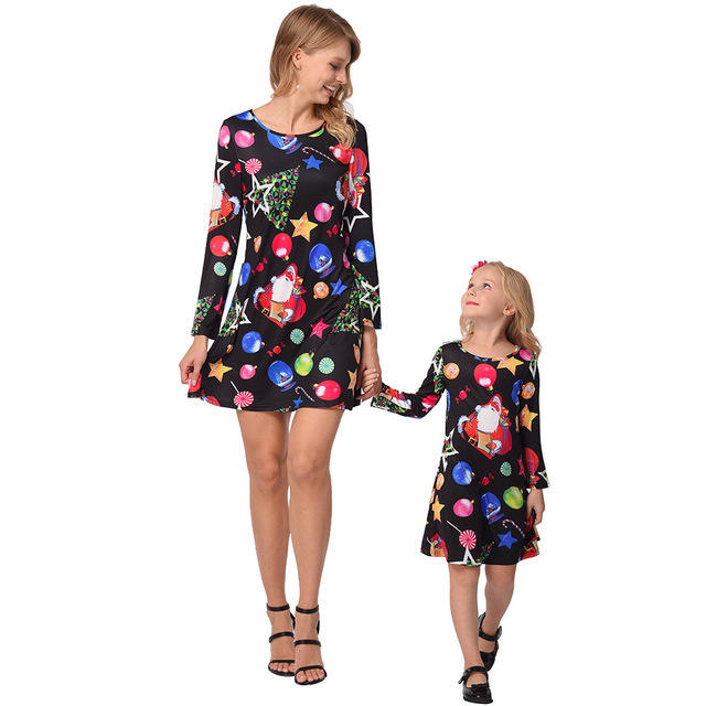 Mother Daughter Matching Floral Autumn Winter Long Sleeve Christmas Casual Fall Clothes Outfits Mom and Daughter Dress