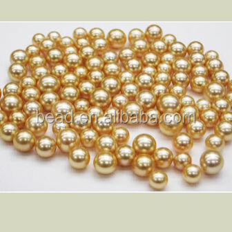 wholesale 4mm-16mm round plastic gold metal bead no hole for clothes