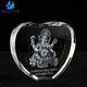 High Quality Heart Shape K9 Crystal 3D Laser Ganesha Crystal Figures