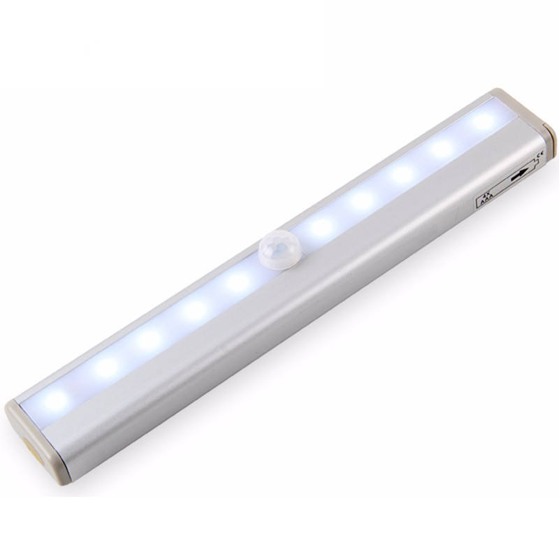 Indoor battery powered mini closet pir night lamp 10 LED motion sensor light