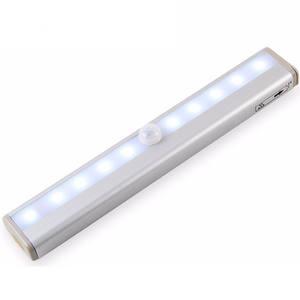 Indoor battery powered mini closet pir night lamp 10 LED motion sensor light
