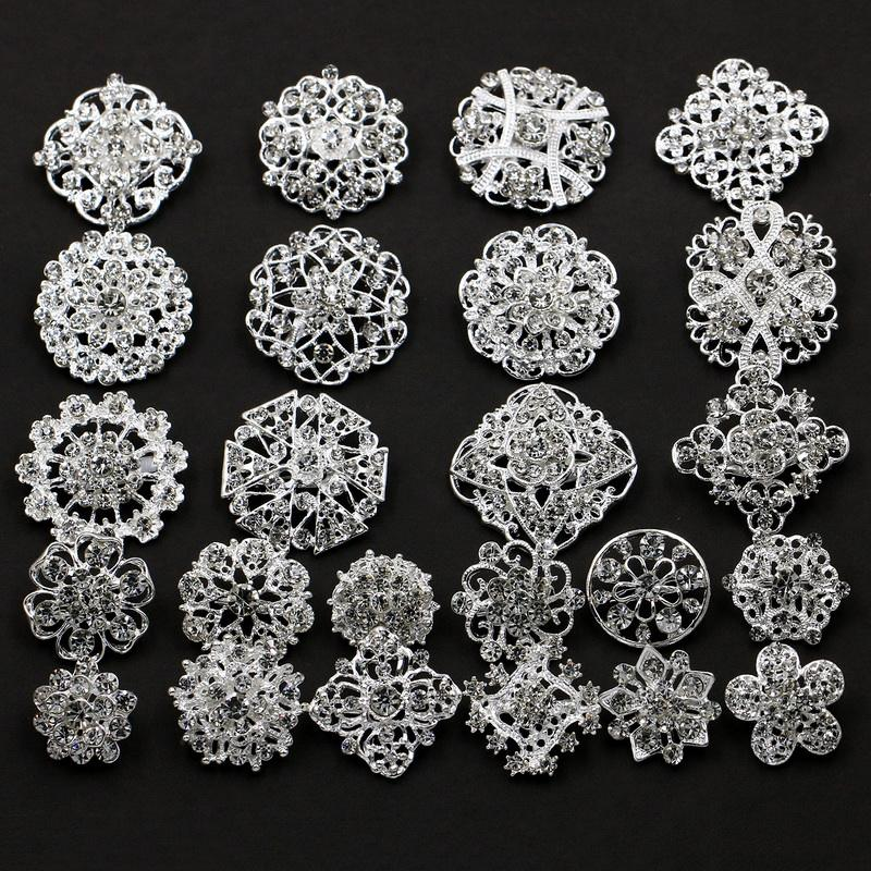 Lot 24pc Clear Rhinestone Crystal Flower Brooches Pins Set DIY Wedding Bouquet Broaches Kit in Silver