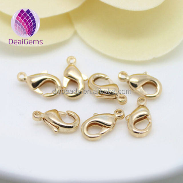 Wholesale 24k gold filled lobster clasp 12 mm for making silver necklace jewelry