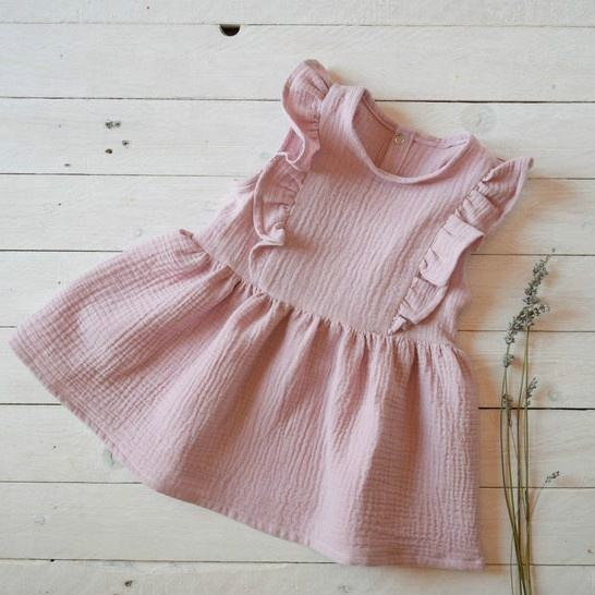 baby girls wholesale kids skirt flutter sleeve children linen baby dress