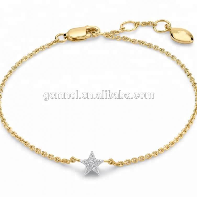 925 silver jewelry zircon dainty mini star pendant bracelet women