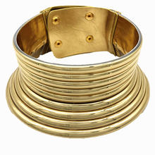 Gold Tone African Egypt Punk Gothic Okoye Snap  Chunky Leather Choker Collars for Women Fashion Statement Necklace Jewelry