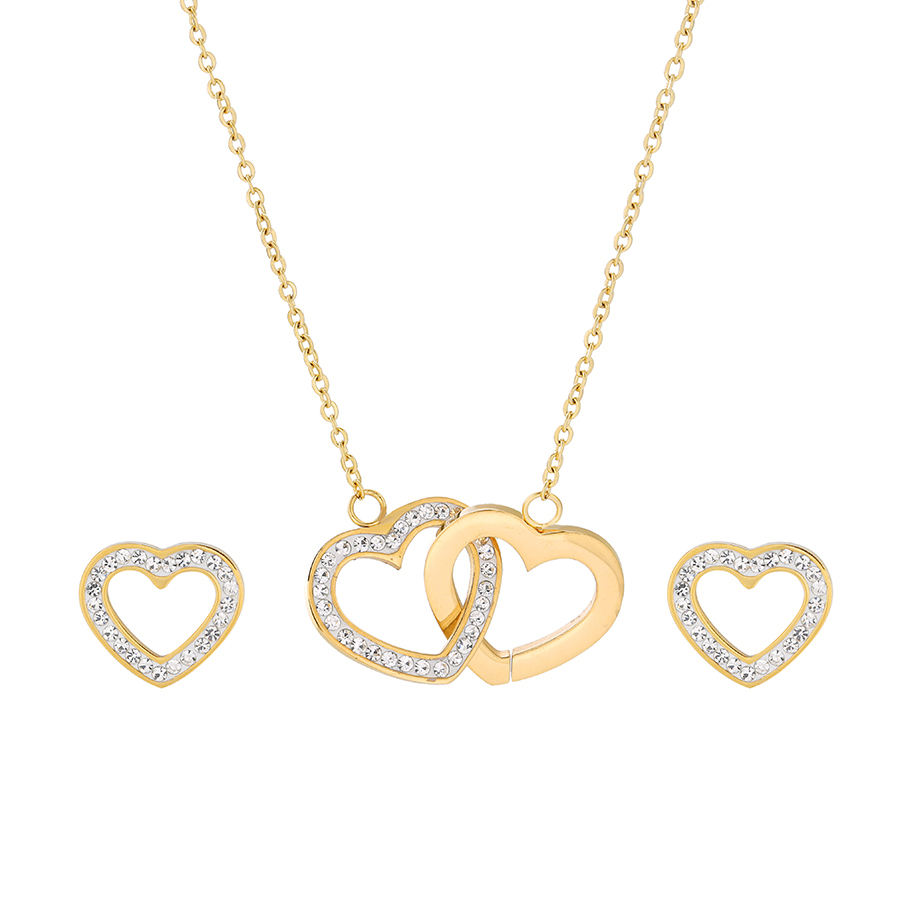 S-140 Xuping stainless steel women set jewelry heart shaped design saudi gold two pieces earring and necklace set
