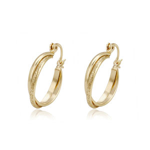 93727 Xuping simple shape indian gold hoops earring designs pakistani