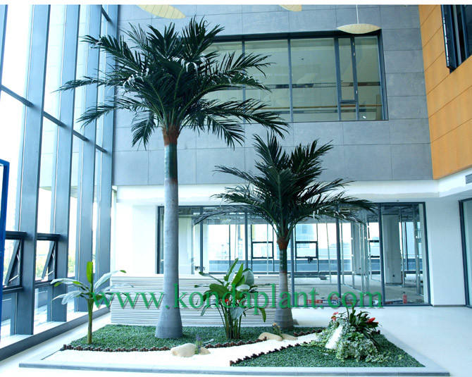 Without pots Straight indoor glazed steel rod coconut tree artificial curved coco palm tree