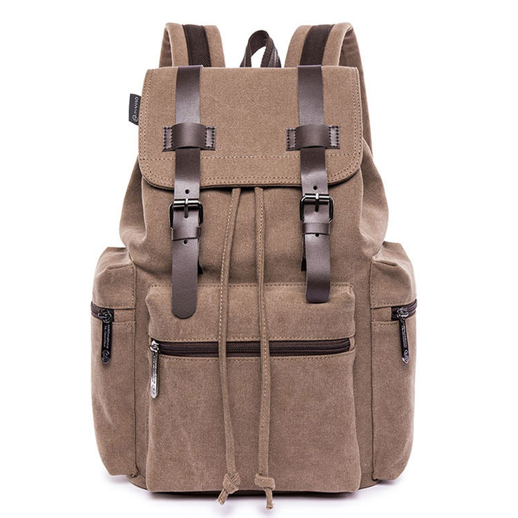 Vintage waxed canvas drawstring Travel laptop backpack for college student school rucksack camping hiking bags for men women