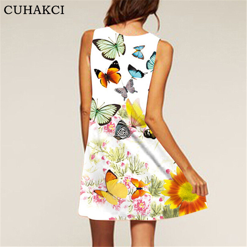 Summer Sleeveless Casual dress brief Girls Fashion Women 3D abstract print Oil painting short dresses
