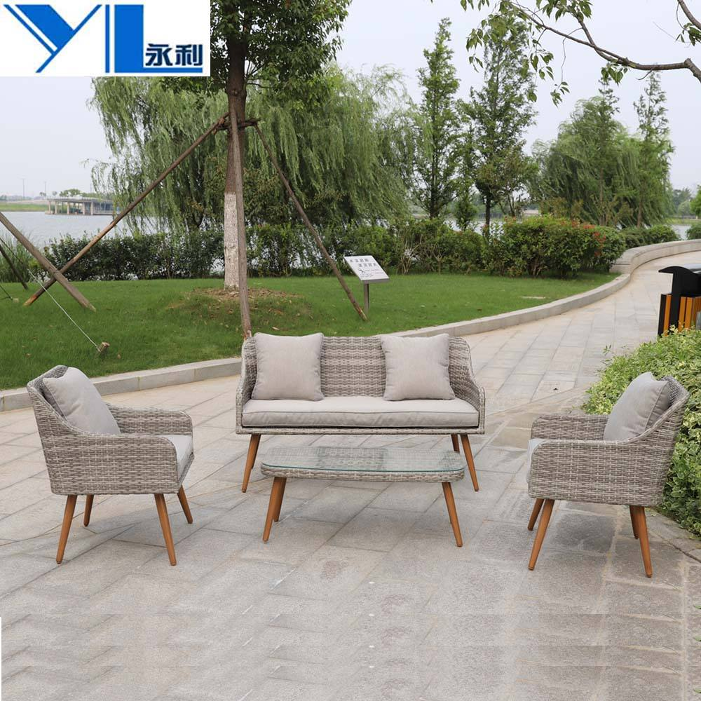 High quality outdoor rattan furniture wicker sofa set table chair bistro conversation set