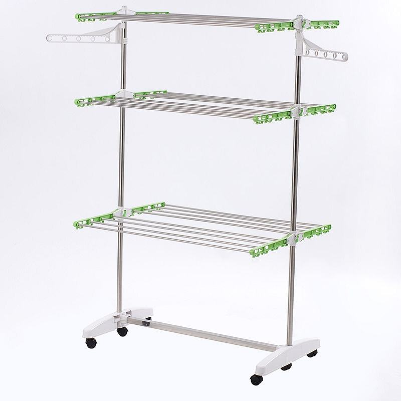 Folding [ Cloth Rack Clothes ] Clothes 3 Layers Folding Cloth Rack 3 Layers Folding Cloth Storage Shelf Rack With 2 Hanger For Clothes Storage Organize