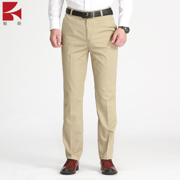 Uomo Slim Fit Straight-Gamba Khaki Pantaloni Business Casual Pantaloni Lunghi