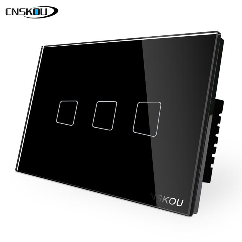 CNSKOU 3Gang 1Way USA AU 118 Type Touch Sensitive Glass Control Panel Switch Elegant Light Wall Switch