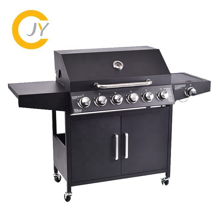 Outdoor Camping Cooking BBQ Grill Stainless Steel 6+1 Burner TableTop Propane Gas Grill