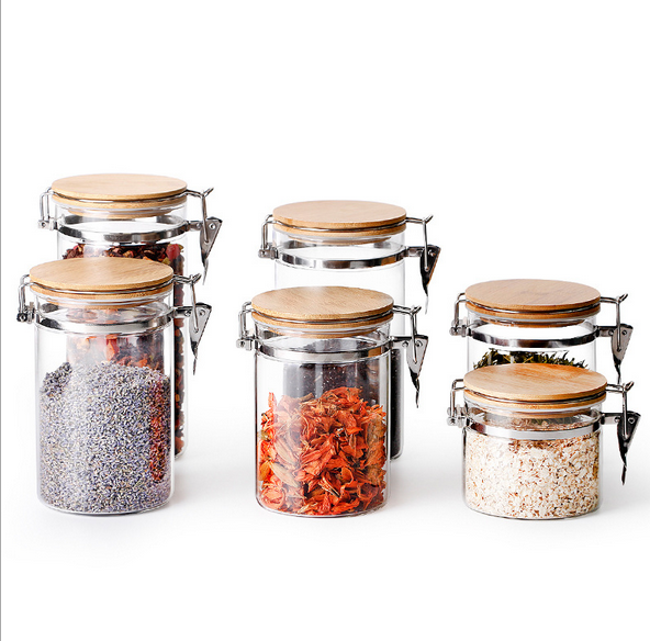 4-Piece Glass Airtight Food Storage Jars Containers Set with Airtight Locking Clamp Lids Wide Mouth Jars Canisters Set for Loo