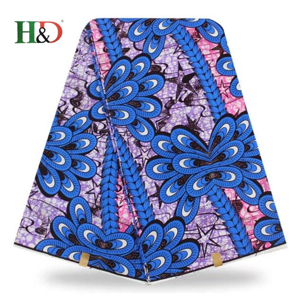 H & D Moda Donna Nuovo 2018 Stile Vestito Della Stampa Della Cera 6 Yards Africano Organza Tessuto di Pizzo In Vendita