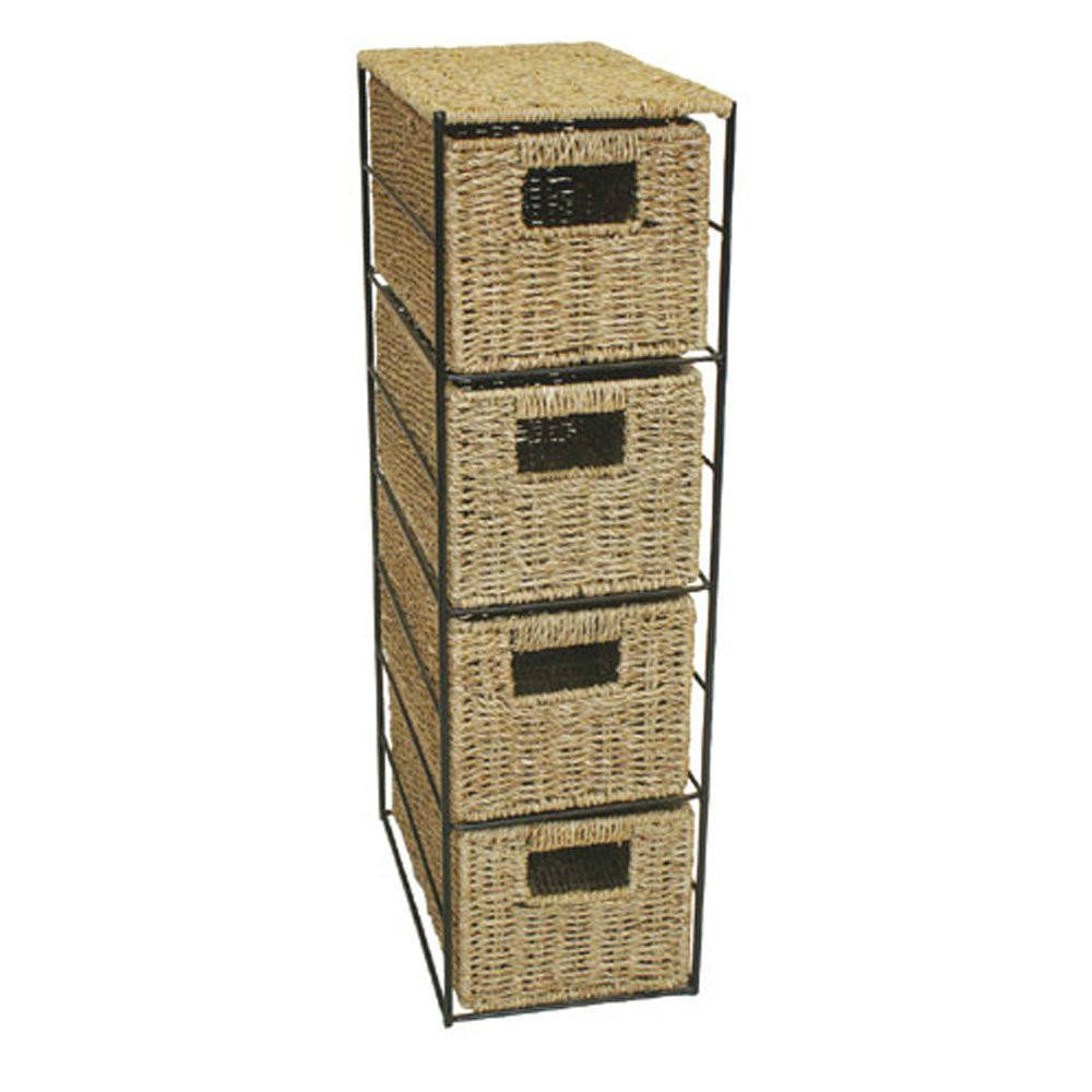 Woodluv 4 Drawer Seagrass Tower Storage Unit With Chrome Wire Frame