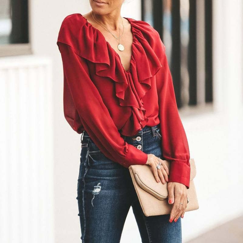 Womens Ruffle Tops and Blouses Chiffon Shirt Spring Solid/ Floral Print V Neck Long Sleeve Elegant Top Ladies Office Wear E1918