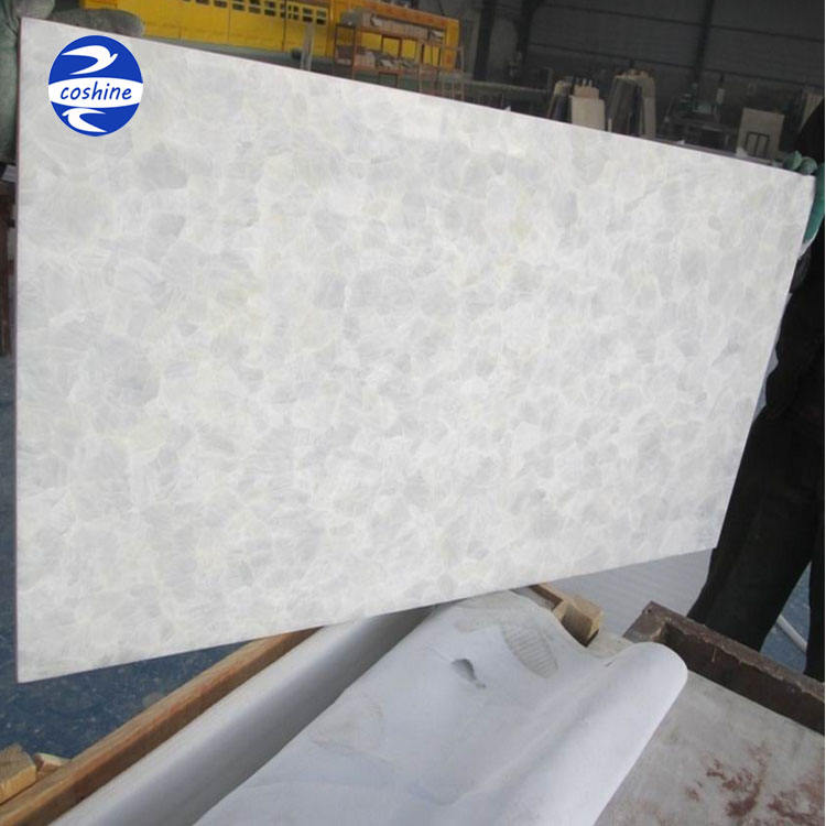 Semi precious interior decoration white onyx marble tiles agate slabs stone for table top