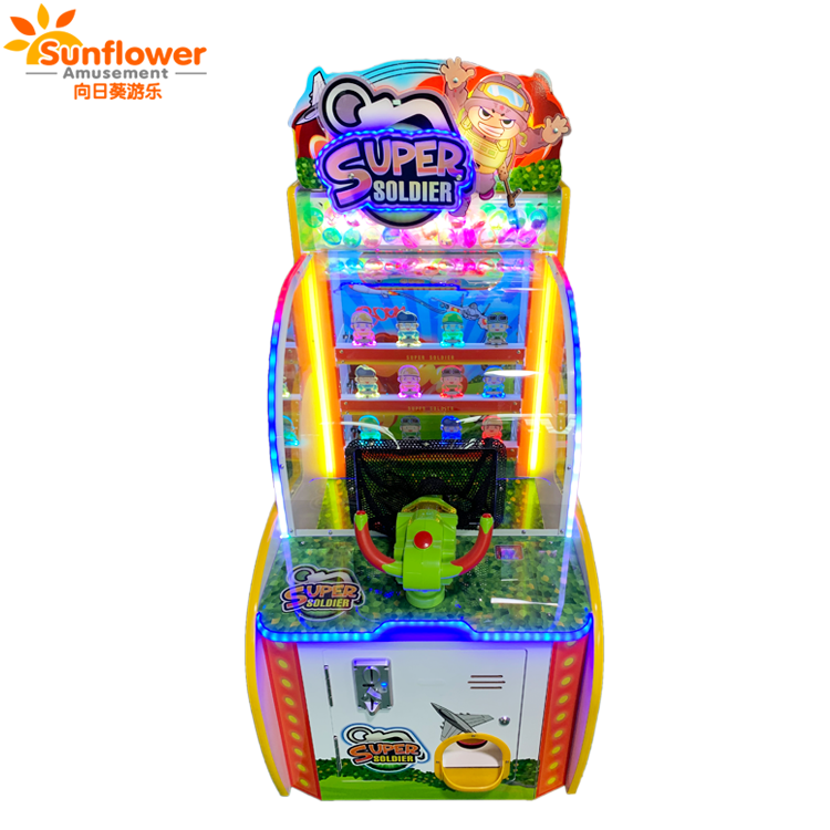 Super Soldaat indoor amusement game machine tickets, coin pusher verlossing game machine