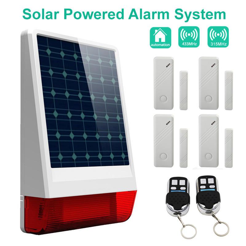 al aire libre sirena 110db <span class=keywords><strong>prueba</strong></span> de agua y luz estroboscópica Wireless Solar Sistema de Alarma Desarrollado