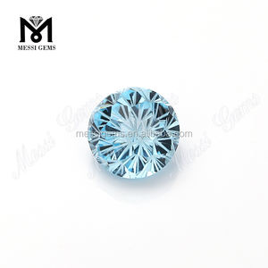 Round Chrysanthemum Cut 14mm Natural Aquamarine Gemstone