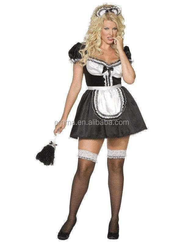 Ladies Sexy French Maid Rocky Horror Plus Size Fancy Dress Costume Outfit BWG14652