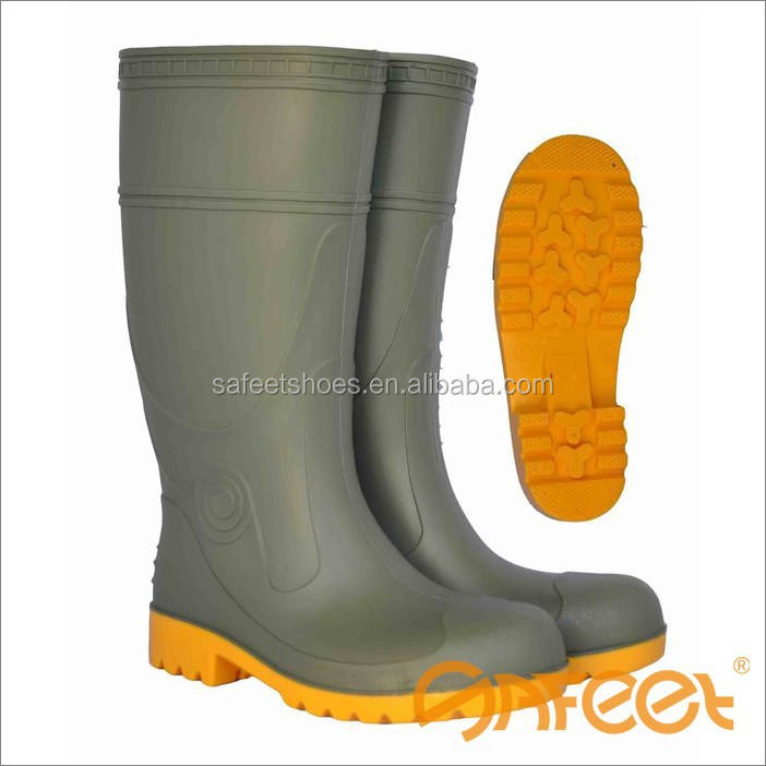 Made in China factory good quality and price high-ankle rubber waterproof steel toe cheap PVC rain boots SA-9302