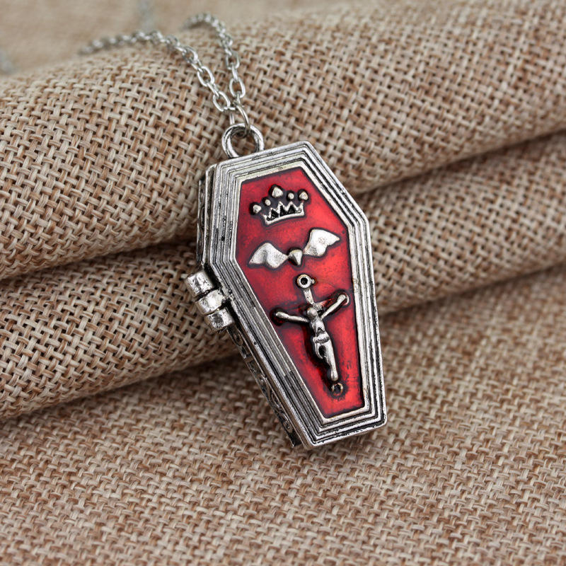 Hot Sales Bat Cross Openable Coffin Necklace