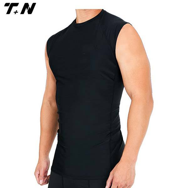 Custom made sleeveless rash guard, rash vest, compression gym vest black
