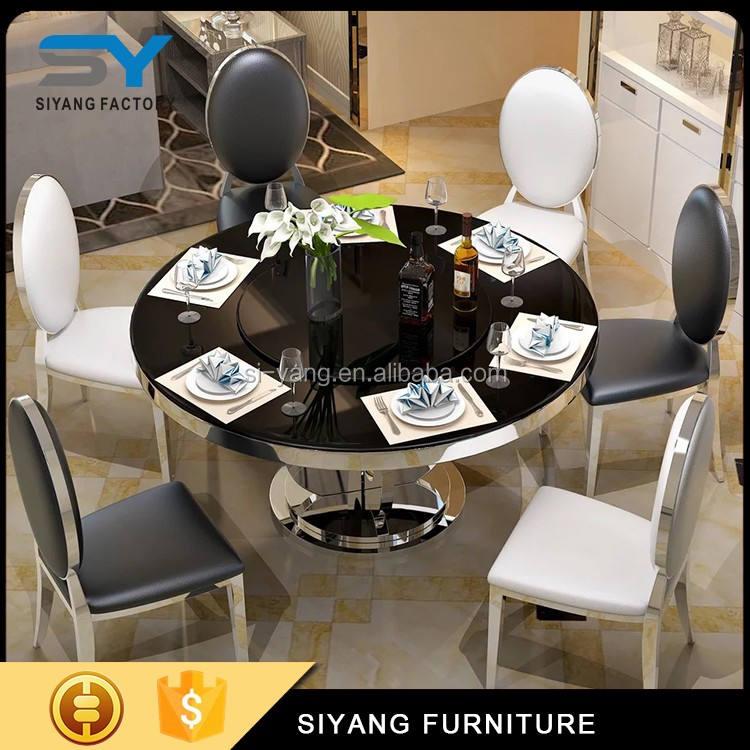 Bằng đá cẩm thạch vòng top ghế bàn ăn, 12 chỗ ngồi ăn bàn tại bể bơi, đá cẩm thạch bàn ăn set với xoay <span class=keywords><strong>cent</strong></span> CT011