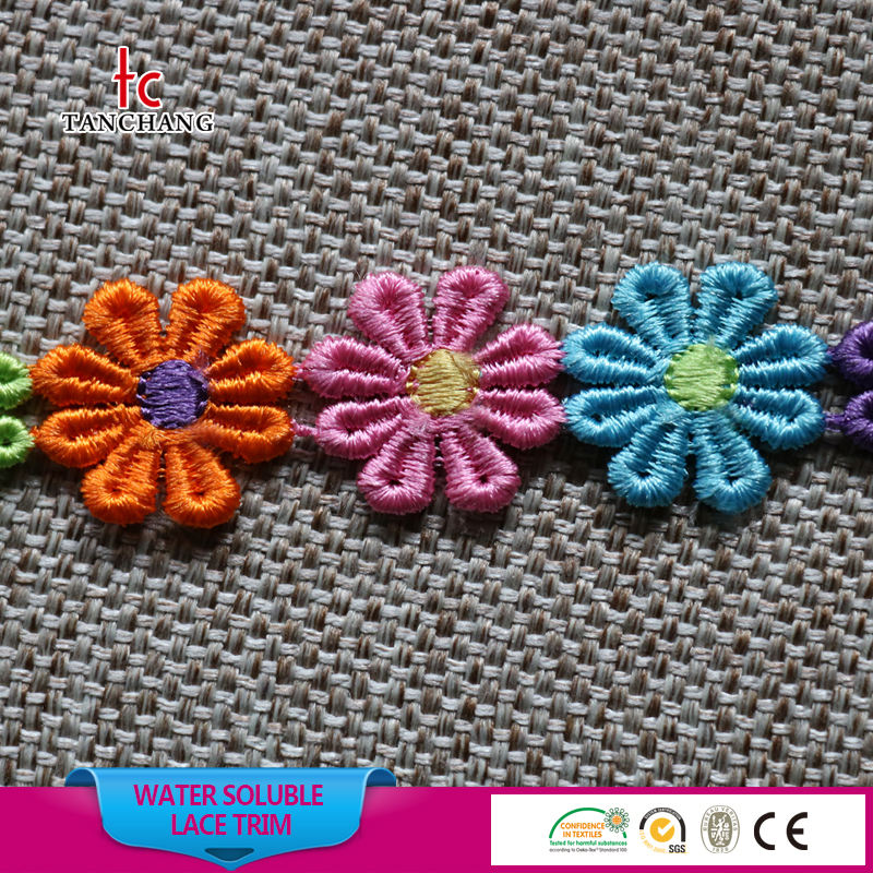 baby garment use fashion flower design yarn dyed quality chemical lace trim swiss voile lace SRTM51