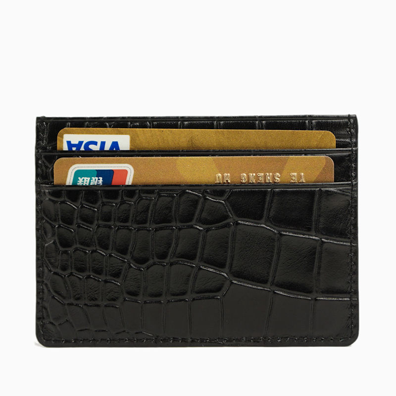 MINANDIO 악어 credit card sleeve genuine leather briefcase business card holder black case