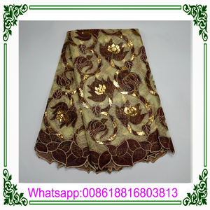 High Quality Beautiful Embroidery Organza with Velvet Lace, Lace with Sequence for Lady Wedding or Party Dress