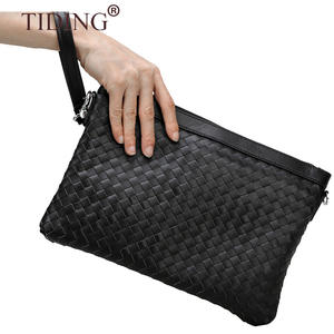 Factory Prijs Real Geweven Lederen Business Clutch Tas Echt Leer Zwart Polsbandje Weave Man Clutch Bag