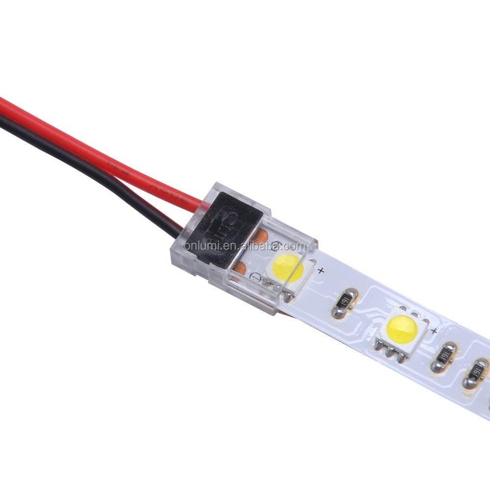 Slimmest LED strip Connector 10mm 2 pin can put in the profile non-waterproof FPCB and wire connection for led strip