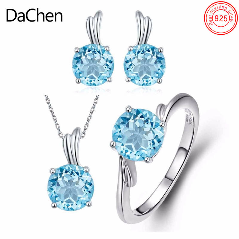 Anillos de Plata 925 Sterling Silver Blue Zirconia Diamond Jewellery Set