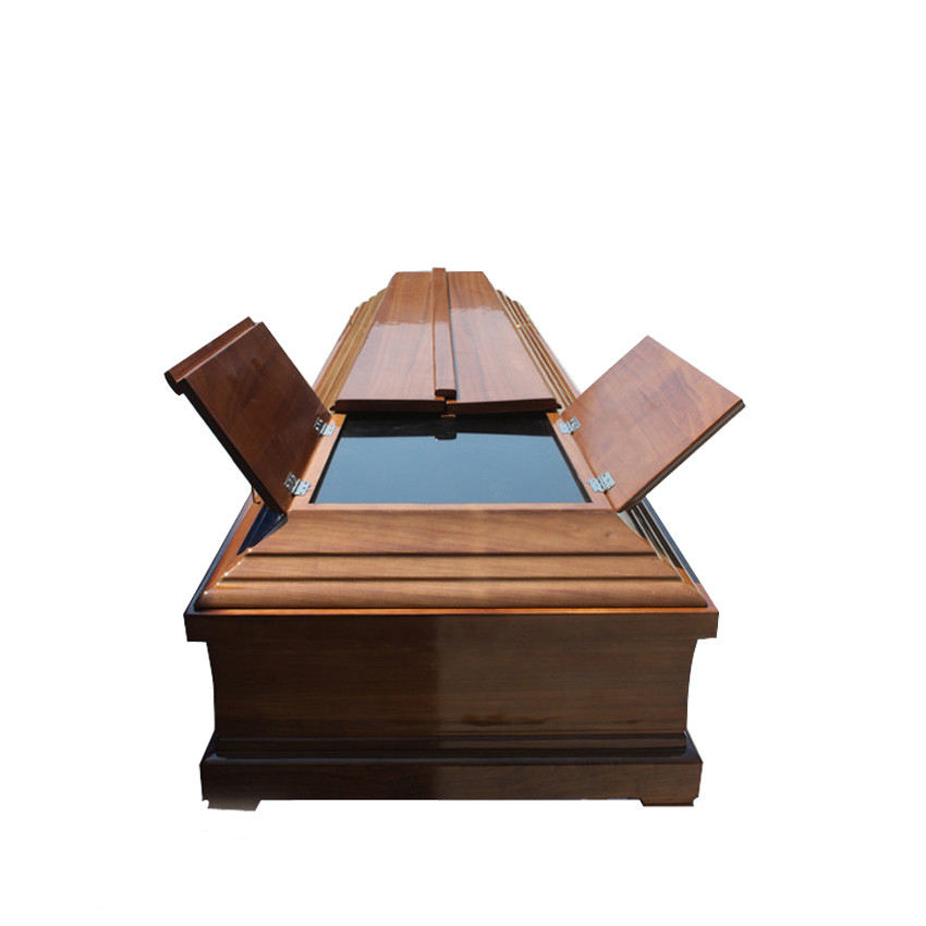 JS-E046 Funeral products wooden glass coffin