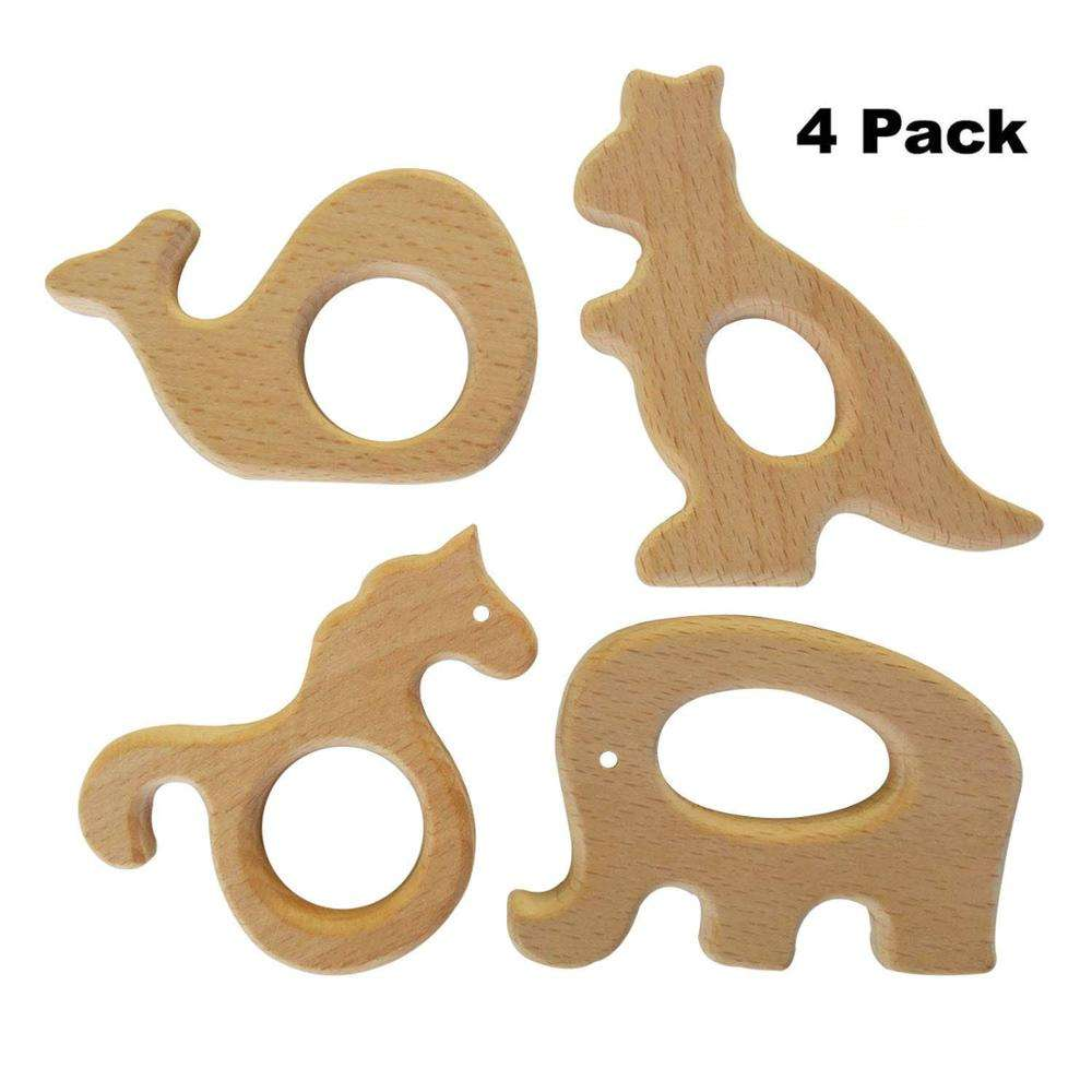 Natural Toddler Wooden Toy Teether Animals