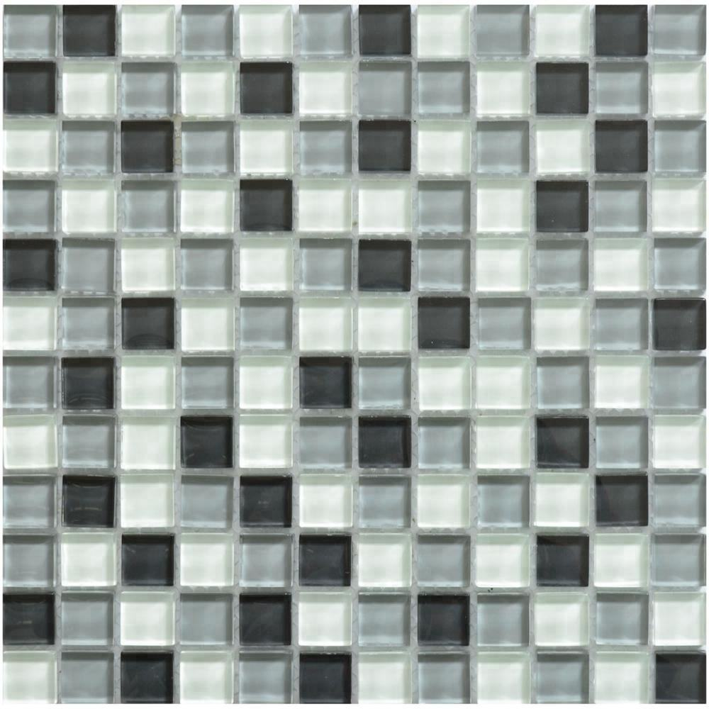 8mm cheap gray white and black crystal glass mosaic tiles for bathroom wall