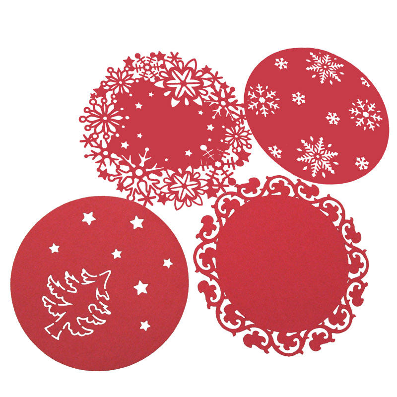 Set of 4 Red color laser cut circle Christmas decoration Kitchen Dinner Table Mat felt placemat