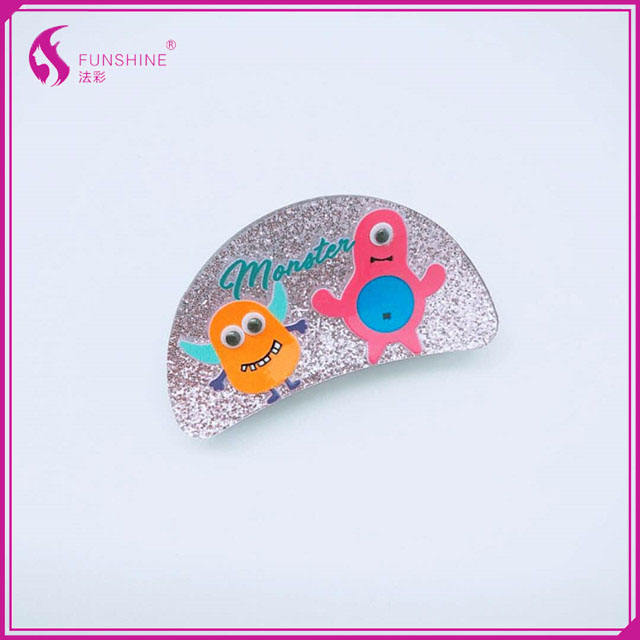 Unique design good quality colorful Semicircle shape hair clip fancy hair claws monster glittering shiing acrylic hair claws