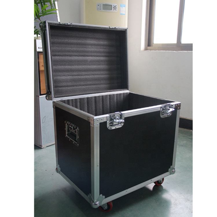 Customize Size Empty Black Transport Trolley Aluminum Pilot Dance Floor Flight Case with Wheels