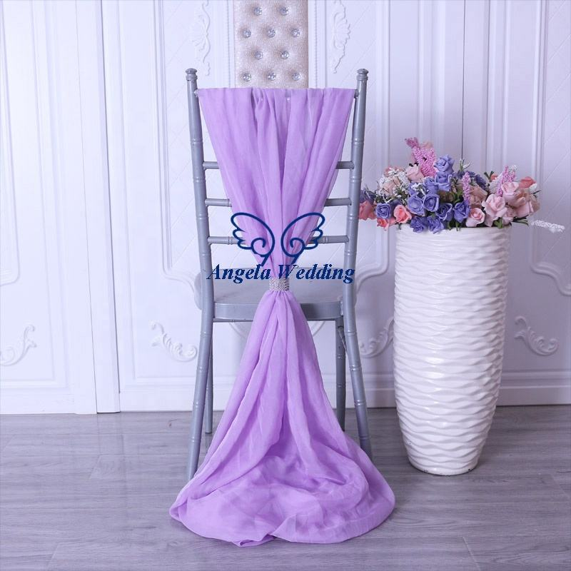 SH003Q wholesale wedding outdoor lilac lavender light purple chiffon chair sash with buckle