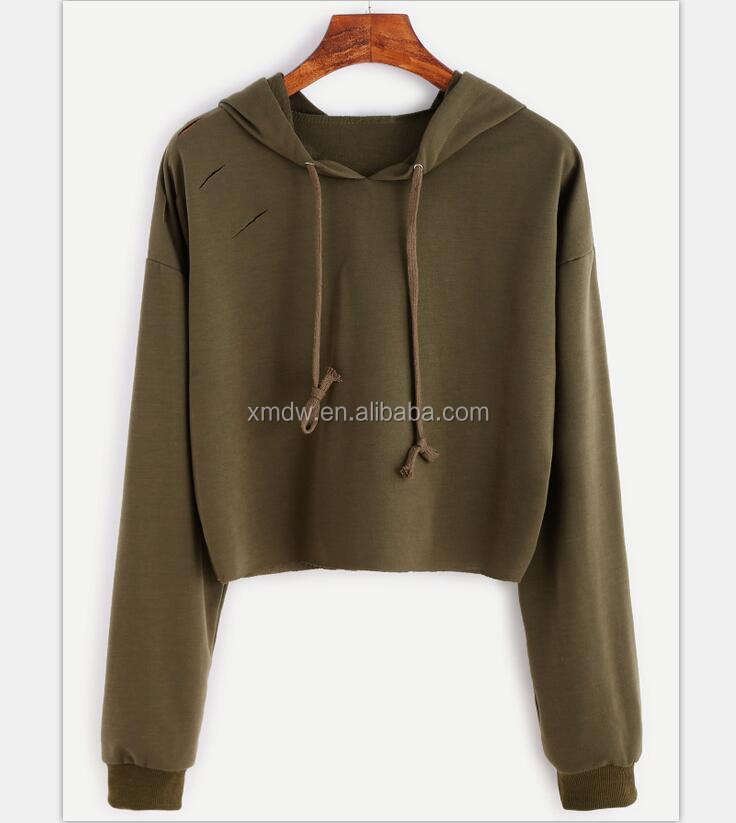 Khaki Drop Shoulder Ripped Drawstring Hooded Sweatshirt For Women Gym Tops Womens