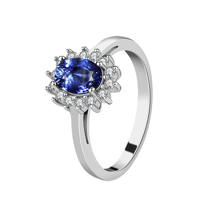 2021 factory Wholesale Custom Luxury Women's Engagement Anniversary Blue Sapphire 925 Sterling Silver Ring
