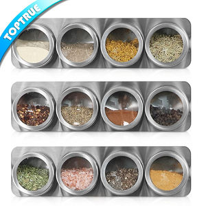 High quality kitchenware magnetic spice tins containers sets stainless steel spice jar